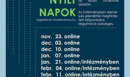2021-es online nyílt napok időpontjai az iskola facebook oldalán